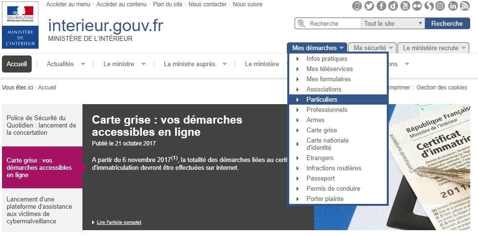 Certificat d'immatriculation - Démarche