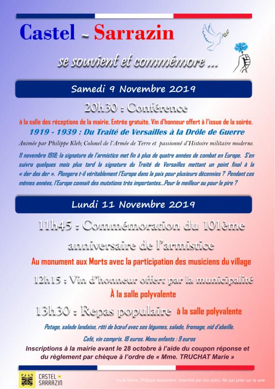 Commémorations 101ème anniversaire de l'armistice du 11 novembre