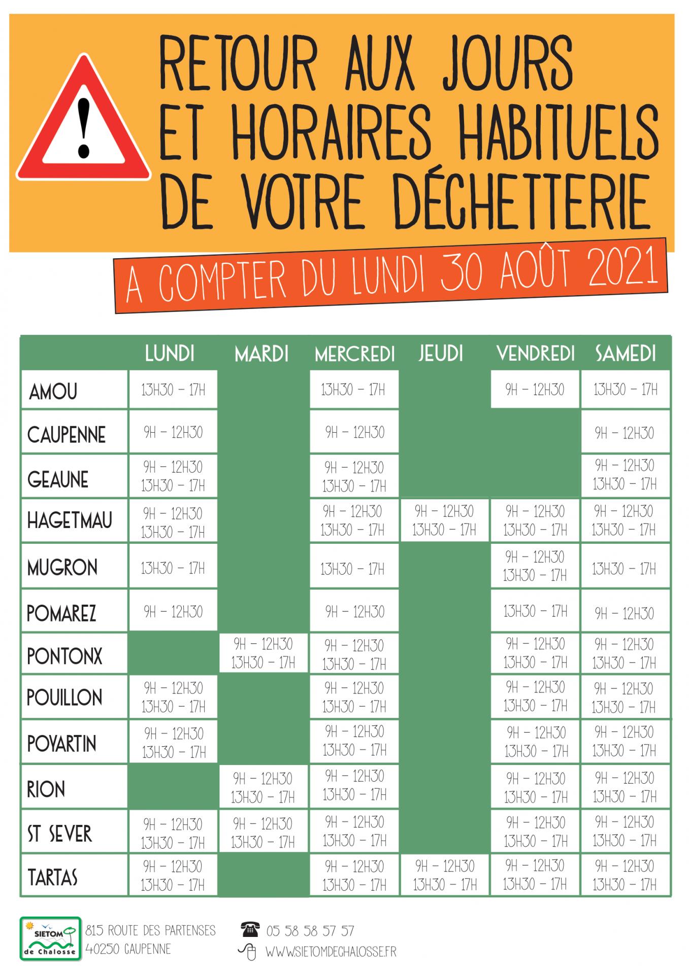 Affiche horaires dechetteries 1