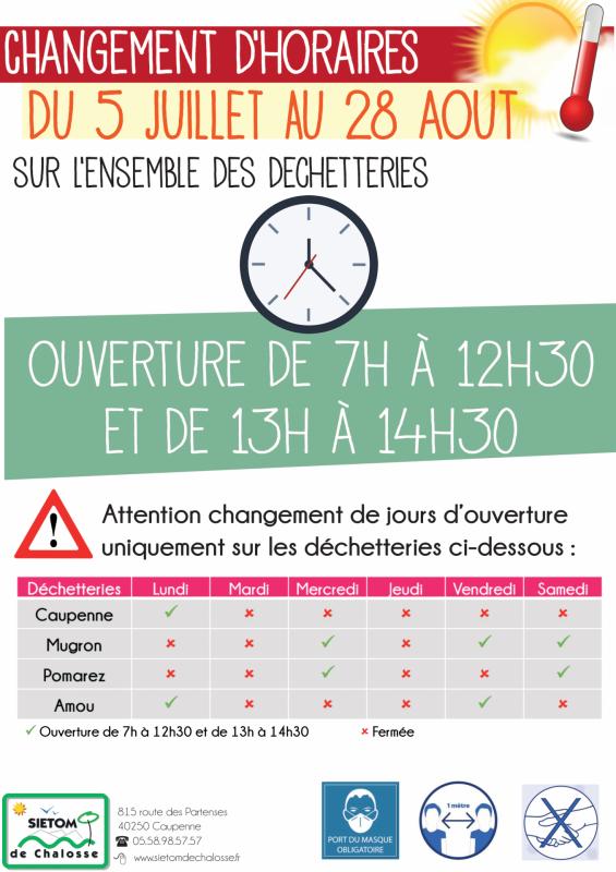 Affiches horaires ete 1